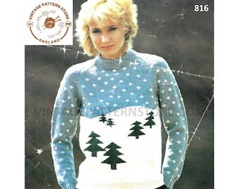"Girls ladies, 1980s Tree motif, Snowy Christmas Sweater 28"" - 38"" chest - Vintage PDF Knitting Pattern 816"