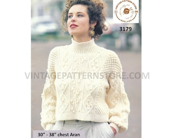 "Ladies Womens 90s funnel neck cropped cabled cable drop shoulder dolman aran sweater jumper pdf knitting pattern 30"" to 38"" Download 3179"