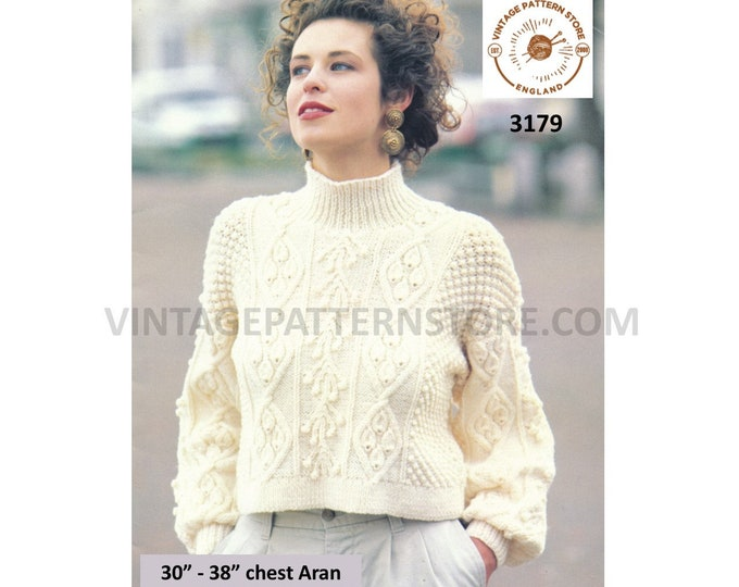 """Ladies Womens 90s funnel neck cropped cabled cable drop shoulder dolman aran sweater jumper pdf knitting pattern 30"""" to 38"""" Download 3179"""