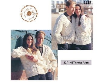 """Ladies Womens Mens Mans 90s V and crew neck cable cabled raglan aran cardigan sweater jumper pdf knitting pattern 32"""" to 46"""" Download 2529"""
