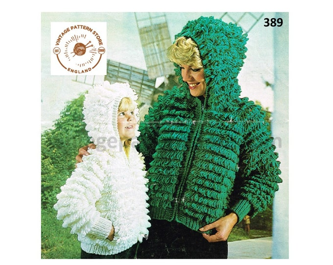 "Ladies Womens Girls 70s vintage chunky knit loopy zip up raglan hoodie jacket coat pdf knitting pattern 24"" to 40"" chest PDF Download 389"