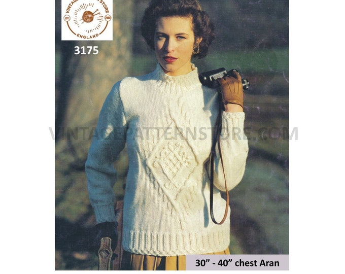 """Ladies Womens 90s funnel neck cable panel cabled raglan aran sweater jumper pullover pdf knitting pattern 30"""" to 40"""" chest PDF Download 3175"""