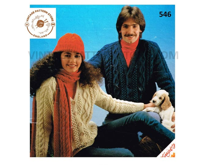 """Ladies Womens Mens 80s vintage V neck cable cabled raglan aran cardigan hat and scarf pdf knitting pattern 34"""" to 44"""" chest PDF download 546"""