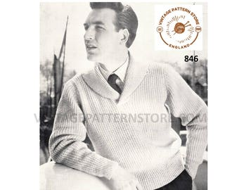 "Mens Mans 50s vintage shawl collar DK raglan cardigan sweater jumper pdf knitting pattern 38"" to 46"" chest Instant PDF Download 846"