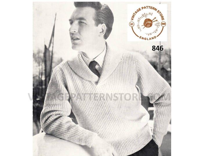 "Mens Mans 50s vintage shawl collar DK raglan cardigan sweater jumper pdf knitting pattern 38"" to 46"" chest Instant PDF Download 846"