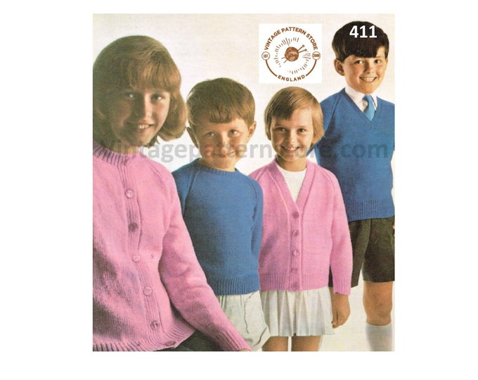 """Girls Boys 80s vintage simple & easy to knit 4 ply V or round neck cardigan and sweater jumper pdf knitting pattern 24"""" to 34"""" Download 411"""