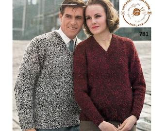 "Ladies Womens Mens 60s plain simple quick & easy to knit V neck raglan aran sweater jumper pdf knitting pattern 34"" to 44"" PDF download 781"