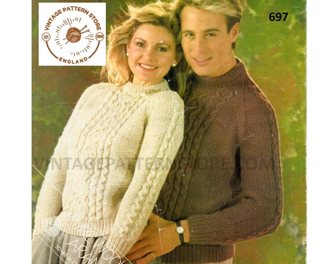 """Ladies Womens Mens 90s crew neck cabled cable panel raglan aran sweater jumper pdf knitting pattern 30"""" to 46"""" chest Instant download 697"""
