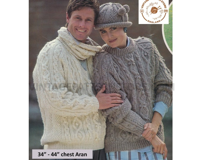 """Ladies Womens Mens 90s V round neck cable cabled slouchy raglan aran sweater jumper hat scarf pdf knitting pattern 34"""" to 44"""" Download 3209"""