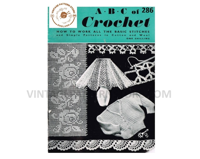 40s Learn how to crochet pattern book with multiple stitches patterns and designs Instant PDF Download 286