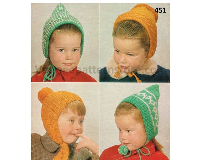 Boys Girls 70s vintage easy to knit 4 ply elf pixie hat helmet & bonnet pdf knitting pattern Ages 1 to 4 years Instant PDF download 451
