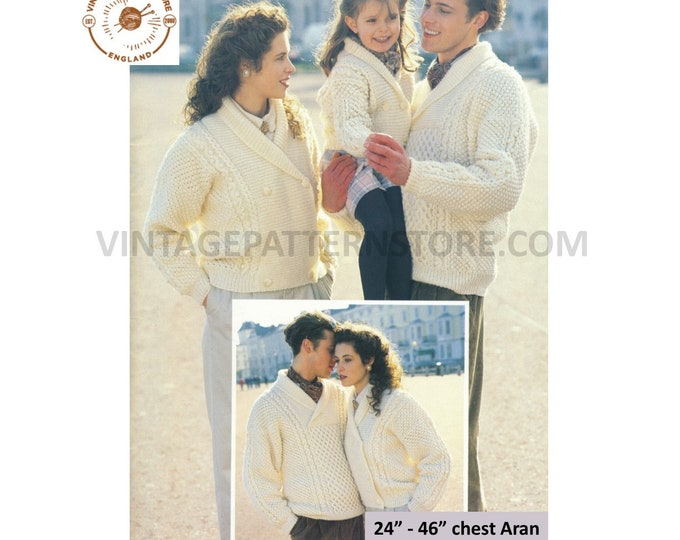 """Ladies Womens Mens Boys Girls 90s shawl collar cabled double breasted aran jacket & sweater pdf knitting pattern 24"""" to 46"""" Download 3185"""