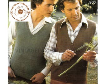 """Mens Mans 70s vintage quick simple & easy to knit 3 ply V neck tank top sweater vest waistcoat pdf knitting pattern 36"""" to 46"""" Download 800"""