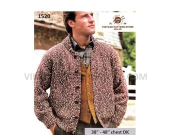 "Mans Mens 90s easy to knit crew neck drop shoulder DK dolman cardigan jacket pdf knitting pattern 38"" to 48"" chest Instant PDF download 1520"