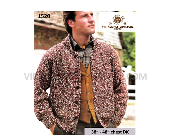 "Mans Mens 90s easy to knit crew neck drop shoulder DK dolman cardigan jacket pdf knitting pattern 38"" to 48"" chest Instant PDF download 1520"