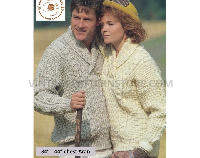 """Womens Mens 80s shawl collar cable cabled drop shoulder textured dolman aran sweater jumper pdf knitting pattern 34"""" to 44"""" download 3202"""