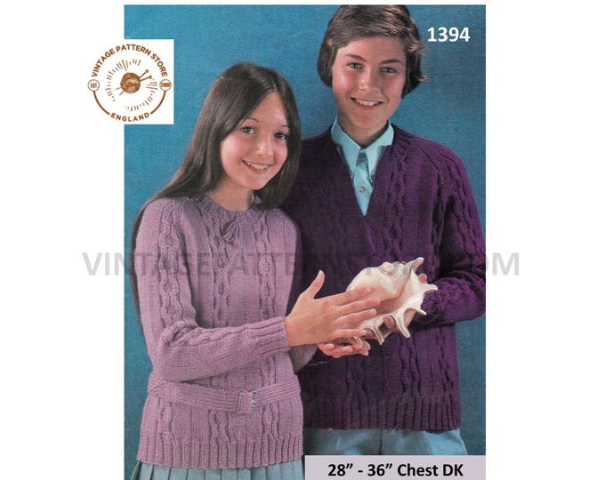 """Boys Girls 70s vintage DK round or V neck cable cabled belted raglan sweater jumper pdf knitting pattern 28"""" to 36"""" chest PDF Download 1394"""