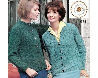 "Ladies Womens 60s vintage plain & simple easy to knit V or round neck raglan aran cardigan pdf knitting pattern 34"" to 38"" PDF download 779"