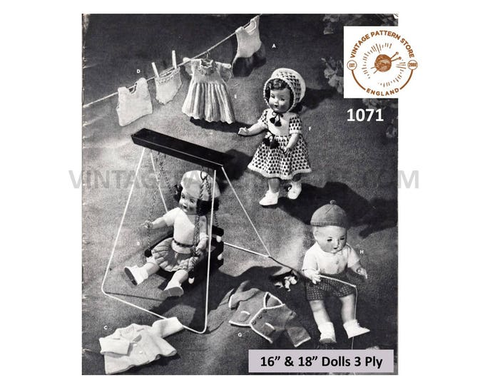 """50s vintage 16"""" 18"""" 3 ply Baby doll clothes pdf knitting pattern 13 items to knit Instant PDF download 1071"""