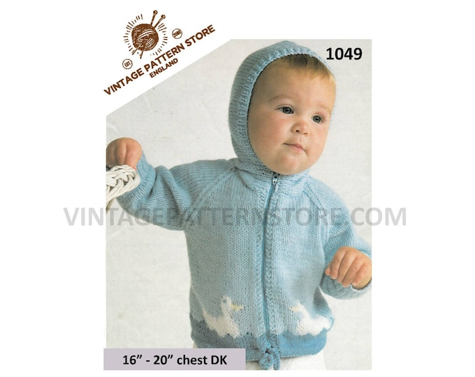 "Baby Babies Toddlers 80s vintage DK duck intarsia hooded zipped zip up raglan jacket cardigan pdf knitting pattern 16"" to 20"" Download 1049"