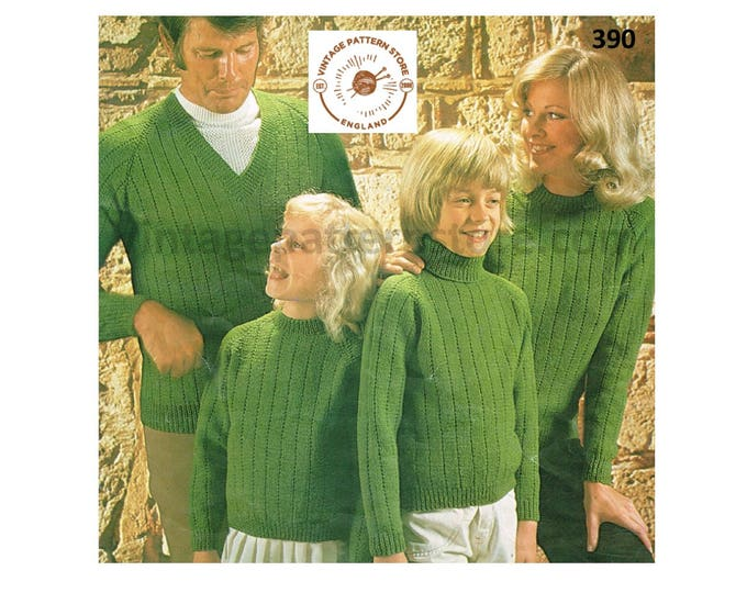 """Ladies Womens Mens Boys Girls 70s family wide ribbed polo V crew neck raglan DK sweater jumper pdf knitting pattern 26"""" to 44"""" Download 390"""