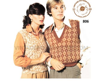 """Womens Mens 70s vintage 4 ply V neck easy to knit & fair isle tank top slipover sweater vest pdf knitting pattern 32"""" to 42"""" Download 806"""