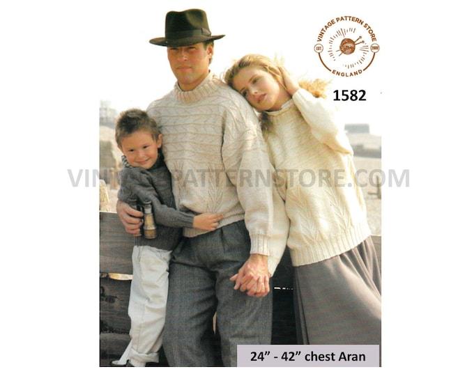 "Ladies Womens Mens Boys Girls 90s crew neck cable drop shoulder aran dolman sweater jumper pdf knitting pattern 24"" to 42"" PDF Download 1582"