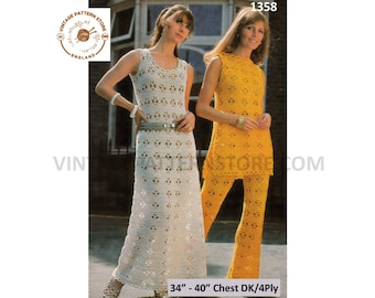 """Ladies 1970s, crochet trouser suit, tabard & bold lace summer dress in 4 ply and DK - 34"""" - 40"""" chest - Vintage PDF Crochet Pattern 1358"""