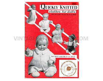 """60s vintage 12"""" 14"""" 16"""" DK baby dolls clothes pdf knitting pattern 17 items to knit Instant PDF Download 284"""