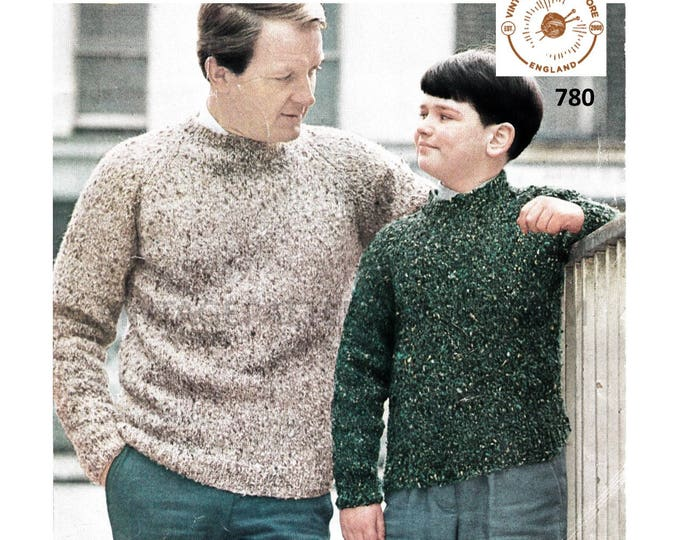 "Mens Mans Boys 50s crew neck plain and simple easy to knit raglan ran sweater jumper pdf knitting pattern 30"" to 46"" chest PDF download 780"