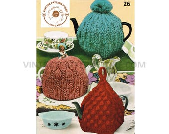 60s vintage chunky knit broken rib stitch berry stitch & Victorian lady tea cosy pdf knitting pattern standard size Instant PDF Download 26