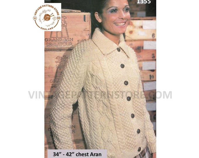 """Ladies Womens 70s vintage round neck collared cable cabled raglan aran cardigan jacket pdf knitting pattern 34"""" to 42"""" chest Download 1355"""