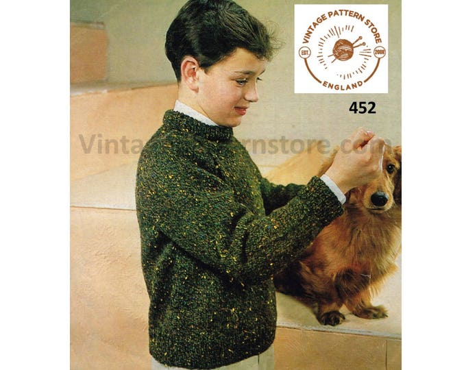 """Boys plain and simple easy to knit 4 ply crew neck raglan sweater jumper pullover pdf knitting pattern 28"""" to 32"""" instant PDF Download 452"""
