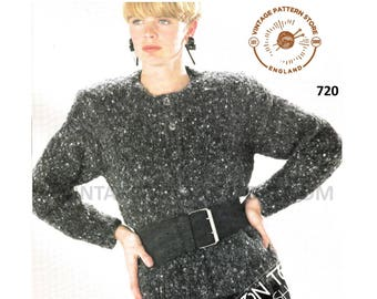 """Ladies 1990s, easy to knit, sweater, cardigan, waistcoat & sweater vest - 30"""" - 42"""" chest - Vintage PDF Knitting Pattern 720"""
