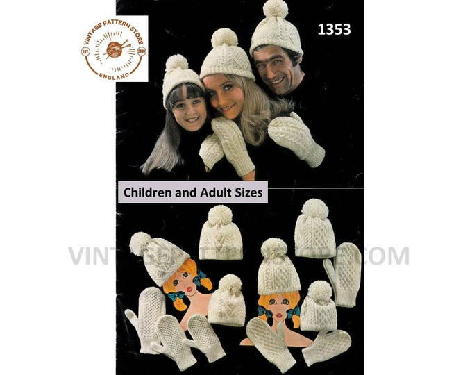 Ladies Womens Mens Boys Girls 70s Family cable cabled aran hat and mittens pdf knitting pattern 3 designs Instant PDF download 1353