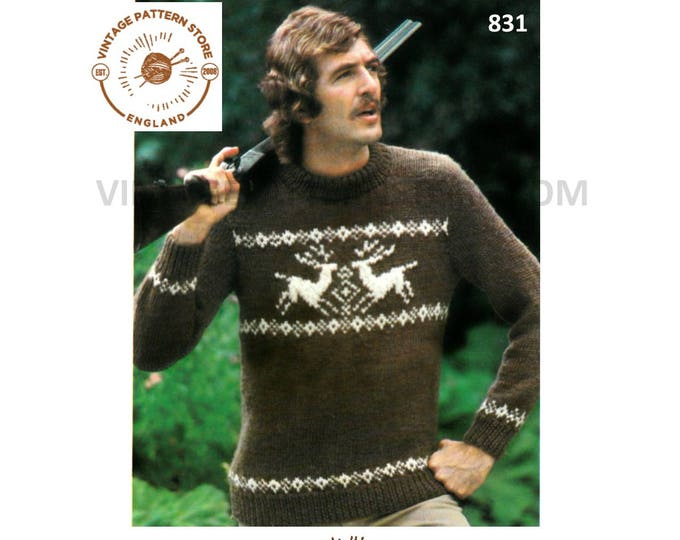"Mens Mans 70s vintage chunky knit crew neck stag reindeer Christmas raglan sweater jumper pdf knitting pattern 36"" to 44"" PDF Download 831"