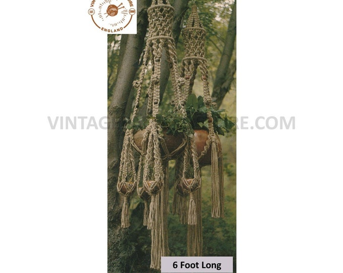70s vintage Macrame plant hanger pdf macrame pattern, 70s vintage retro indoor garden gardening 6 foot Long Instant PDF download 3076