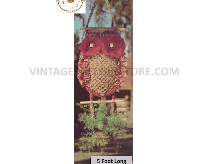 70s vintage macrame owl plant pot hanger holder pdf macrame pattern, 70s vintage retro indoor garden gardening 5 foot Long PDF download 3097