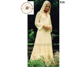 """Ladies Womens 70s vintage 4 ply long line lace lacy hooded wedding evening dress gown pdf crochet pattern 32"""" to 38"""" chest pdf download 416"""