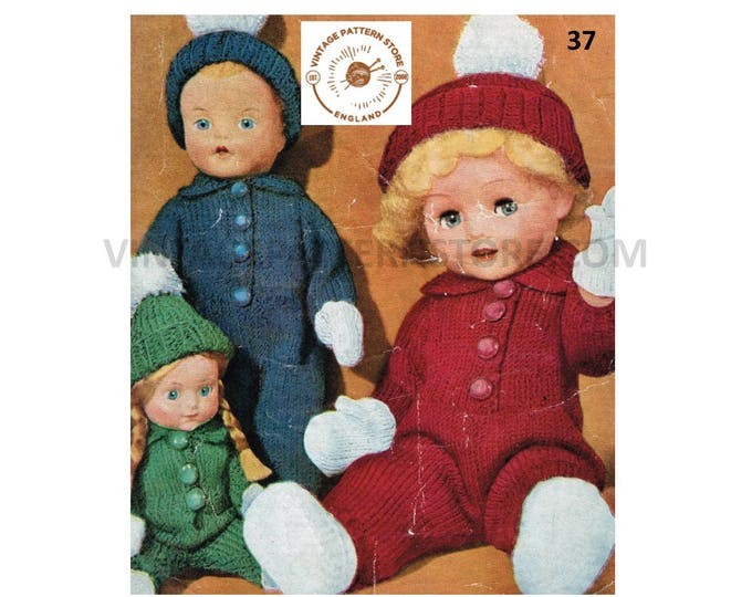 """70s vintage 8"""" 12"""" 16"""" 4 ply baby dolls clothes romper play suit hat mittens and shoes pdf knitting pattern Instant PDF Download 37"""