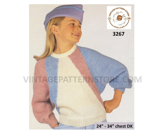 """Girls easy to knit round neck geometric colour blocked DK dolman sweater jumper pdf knitting pattern 24"""" to 34"""" chest PDF Download 3267"""