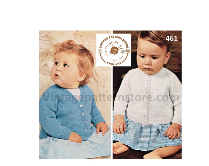 """Baby Babies 80s vintage simple and easy to knit 4 ply V or round neck raglan cardigan pdf knitting pattern 18"""" to 22"""" PDF Download 461"""