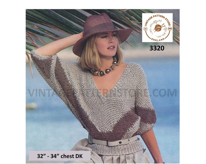 """Womens 80s vintage quick and easy to knit DK low cut V neck batwing Summer sweater jumper pdf knitting pattern 32"""" to 34"""" PDF Download 3320"""