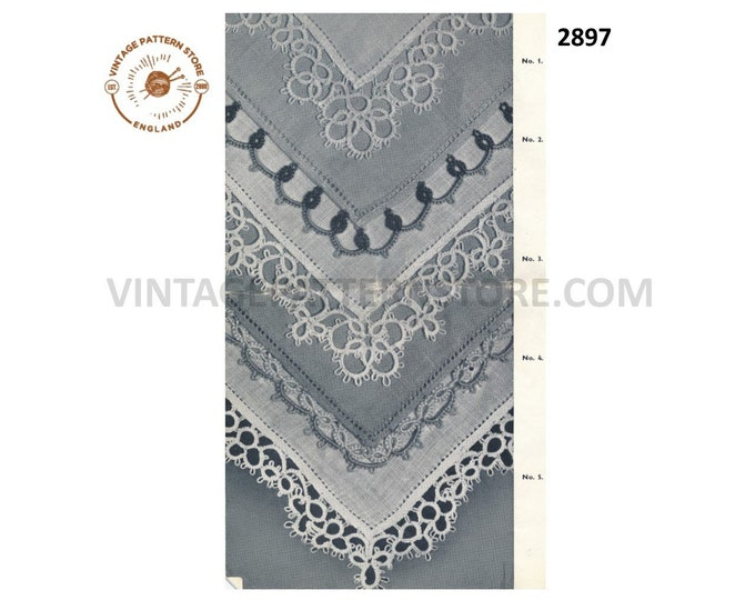 50s vintage tatted lace lacy handkerchief edging pdf tatting pattern Instant PDF Download 2897