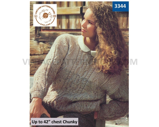 """Ladies Womens 80s vintage round neck chunky knit cable drop shoulder dolman sweater jumper pdf knitting pattern Up to 42"""" bust Download 3344"""