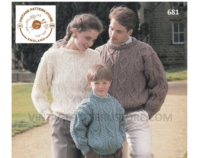 """Ladies Womens Mens Boys Girls 90s Family drop shoulder cable cabled dolman aran sweater jumper pdf knitting pattern 26"""" to 44"""" Download 681"""