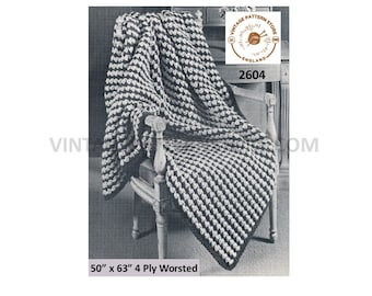 """60s vintage 4 ply houndstooth patterned afghan throw pdf crochet pattern 50"""" by 63"""" Instant PDF download 2604"""