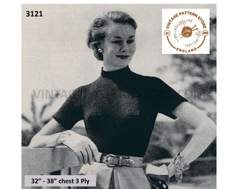 """Ladies Womens 50s vintage crew neck short sleeve 3 ply Summer sweater jumper pdf knitting pattern 32"""" to 38"""" Instant PDF Download 3121"""