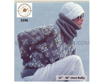 """Ladies Womens 80s easy to knit cowl & snowflake fair isle bulky knit dolman sweater jumper pdf knitting pattern 32"""" to 38"""" PDF Download 3296"""