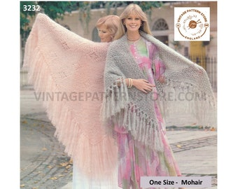 """Ladies Womens 70s vintage easy to crochet large lacy fringed mohair shawl wrap stole pdf crochet pattern 35"""" long Instant PDF download 3232"""